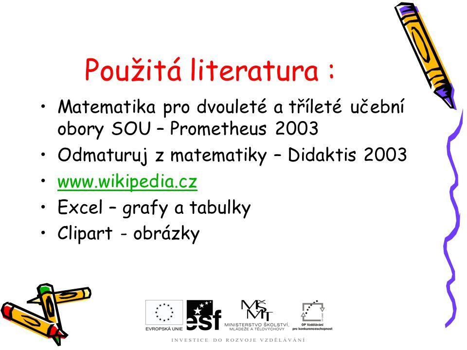 Použitá literatura : Matematika pro dvouleté a tříleté učební obory SOU – Prometheus 2003. Odmaturuj z matematiky – Didaktis 2003.