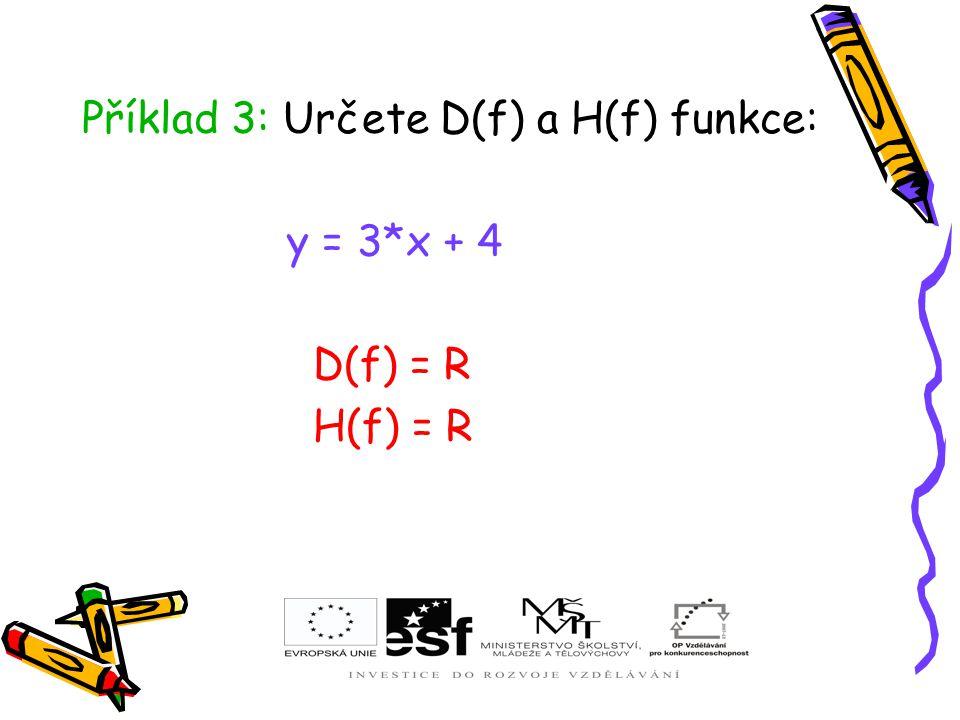 Příklad 3: Určete D(f) a H(f) funkce: