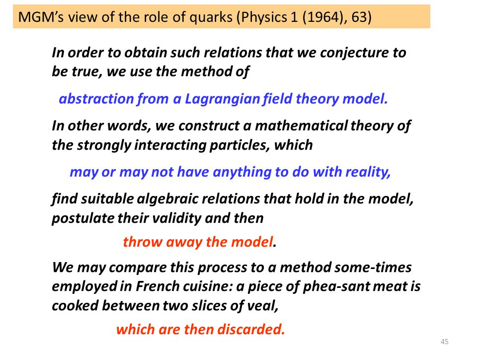 MGM's view of the role of quarks (Physics 1 (1964), 63)