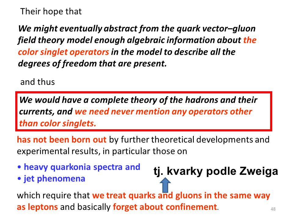 tj. kvarky podle Zweiga Their hope that