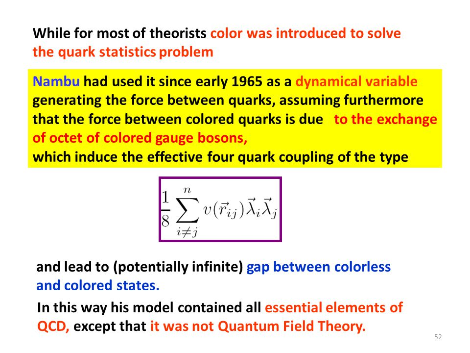 While for most of theorists color was introduced to solve