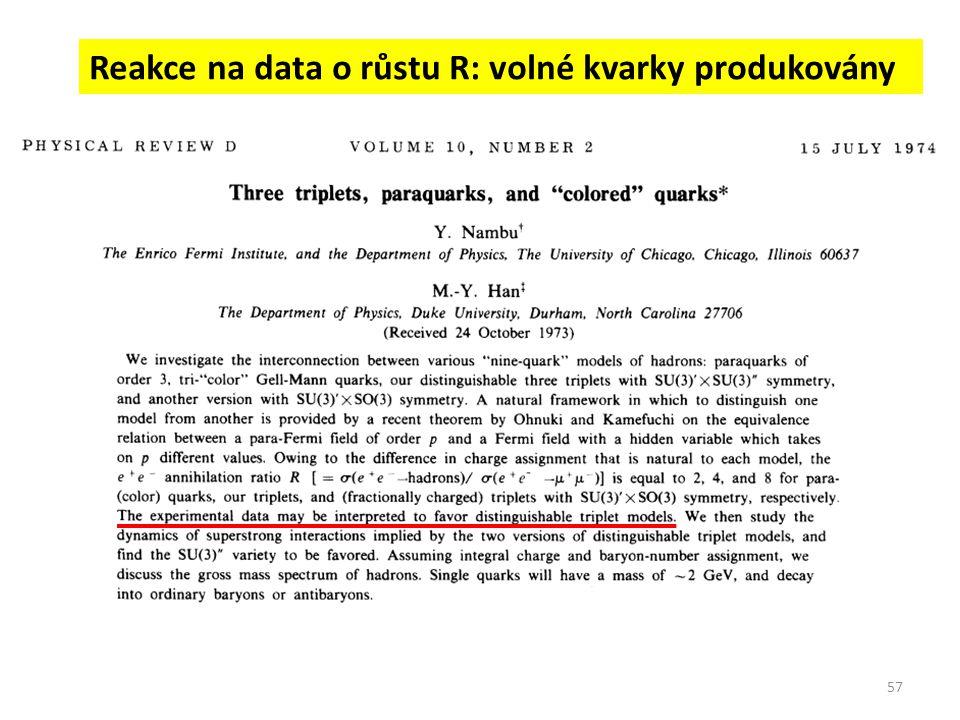 Reakce na data o růstu R: volné kvarky produkovány