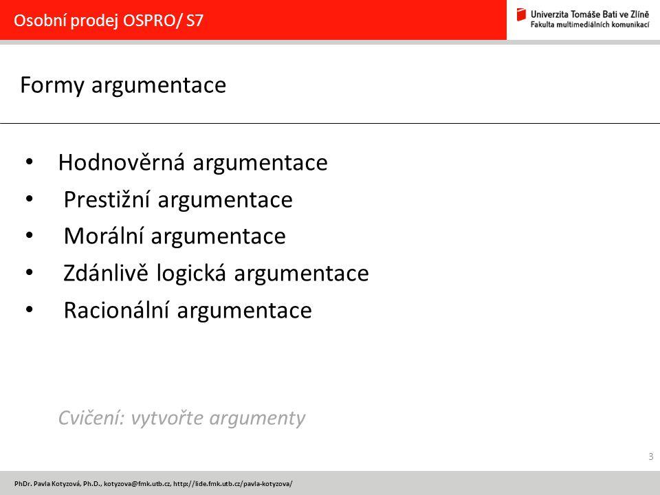 Hodnověrná argumentace Prestižní argumentace Morální argumentace