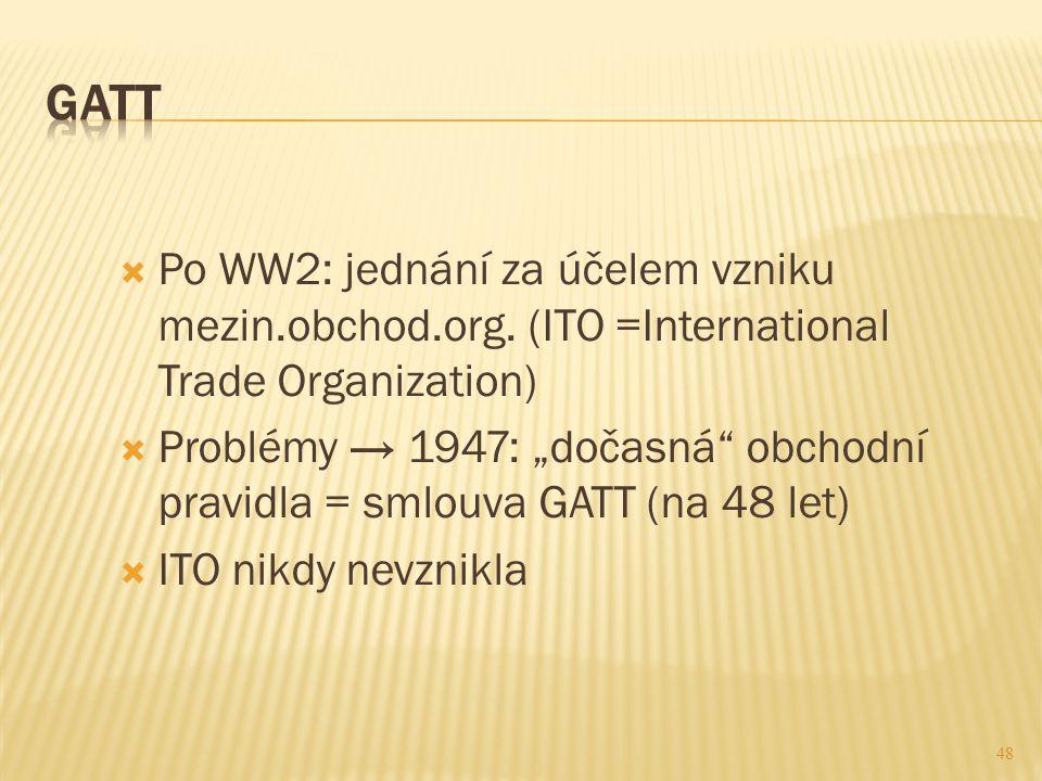 GATT Po WW2: jednání za účelem vzniku mezin.obchod.org. (ITO =International Trade Organization)