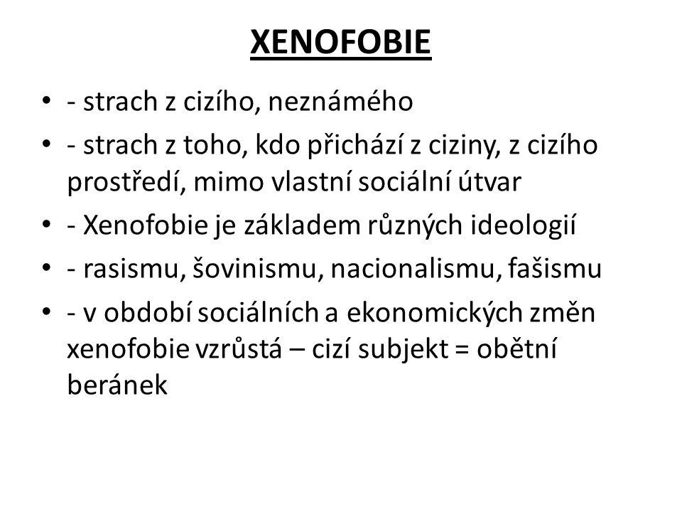 XENOFOBIE - strach z cizího, neznámého