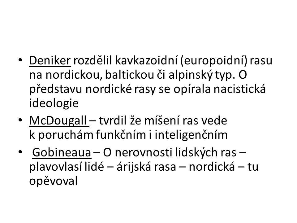 Deniker rozdělil kavkazoidní (europoidní) rasu na nordickou, baltickou či alpinský typ. O představu nordické rasy se opírala nacistická ideologie