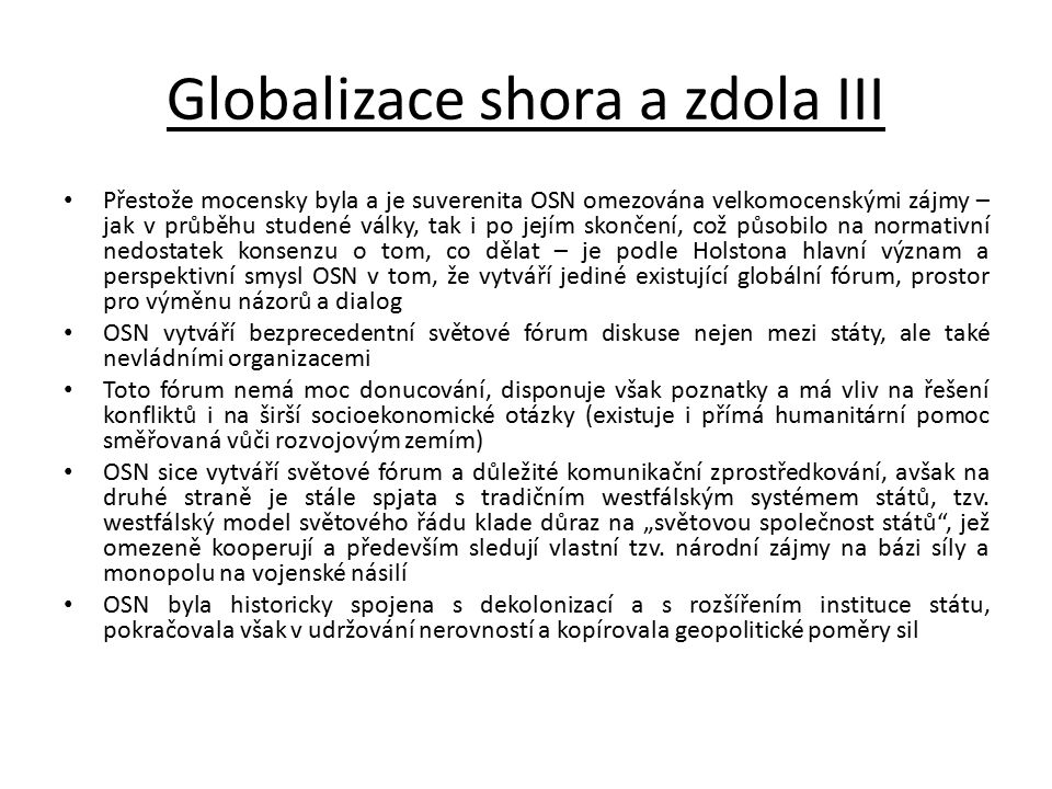 Globalizace shora a zdola III