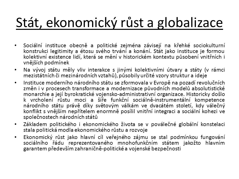 Stát, ekonomický růst a globalizace