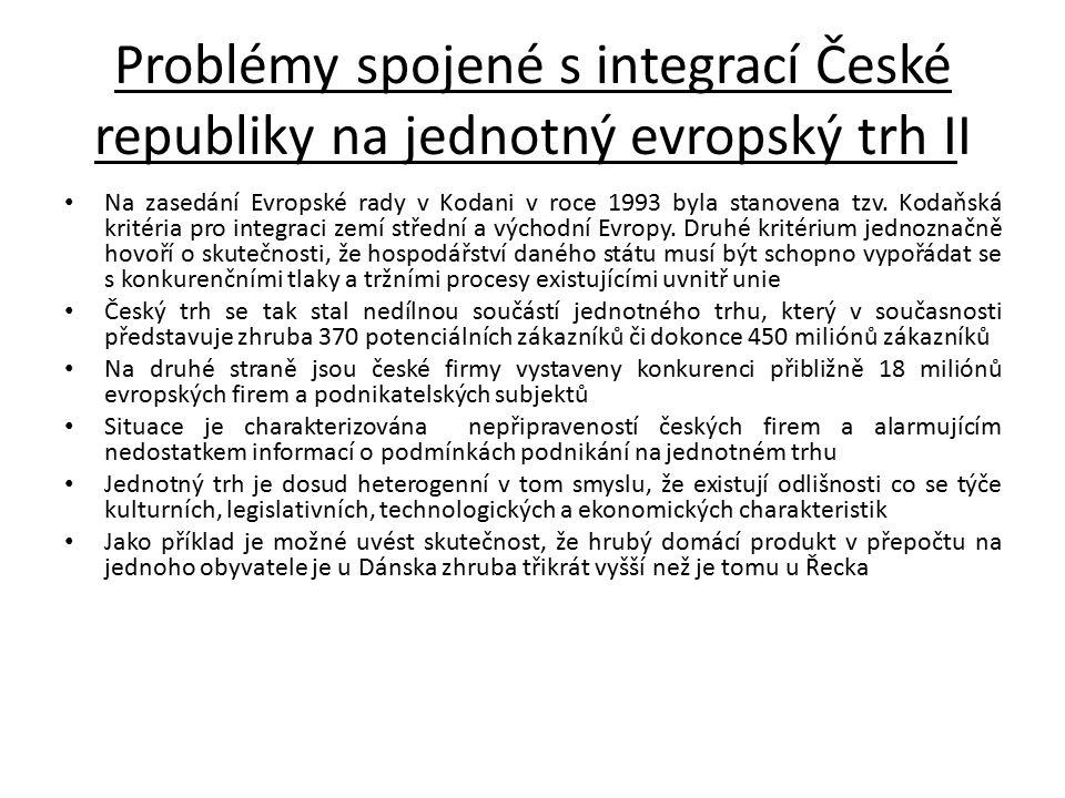 Problémy spojené s integrací České republiky na jednotný evropský trh II
