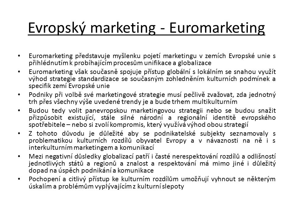 Evropský marketing - Euromarketing