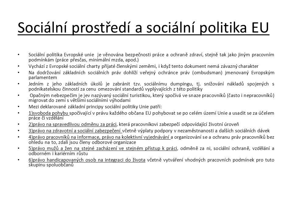 Sociální prostředí a sociální politika EU