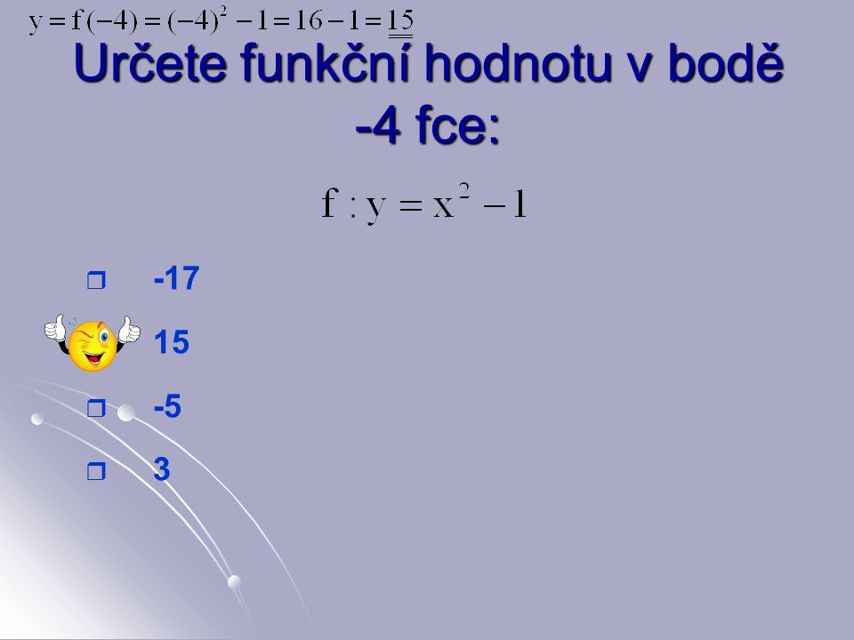 Určete funkční hodnotu v bodě -4 fce: