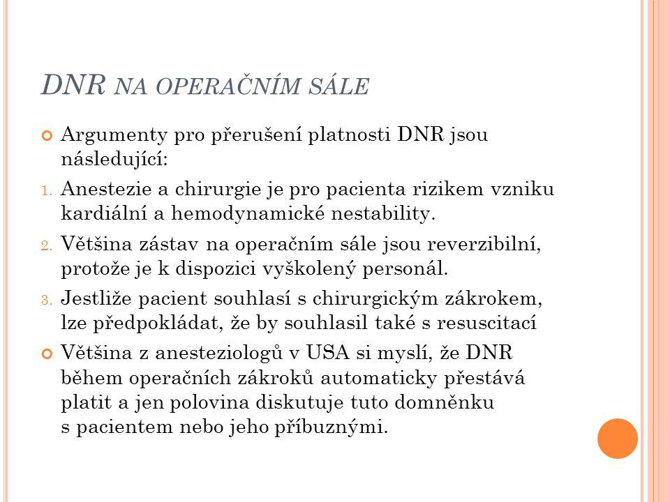 DNR na operačním sále Argumenty pro přerušení platnosti DNR jsou následující: