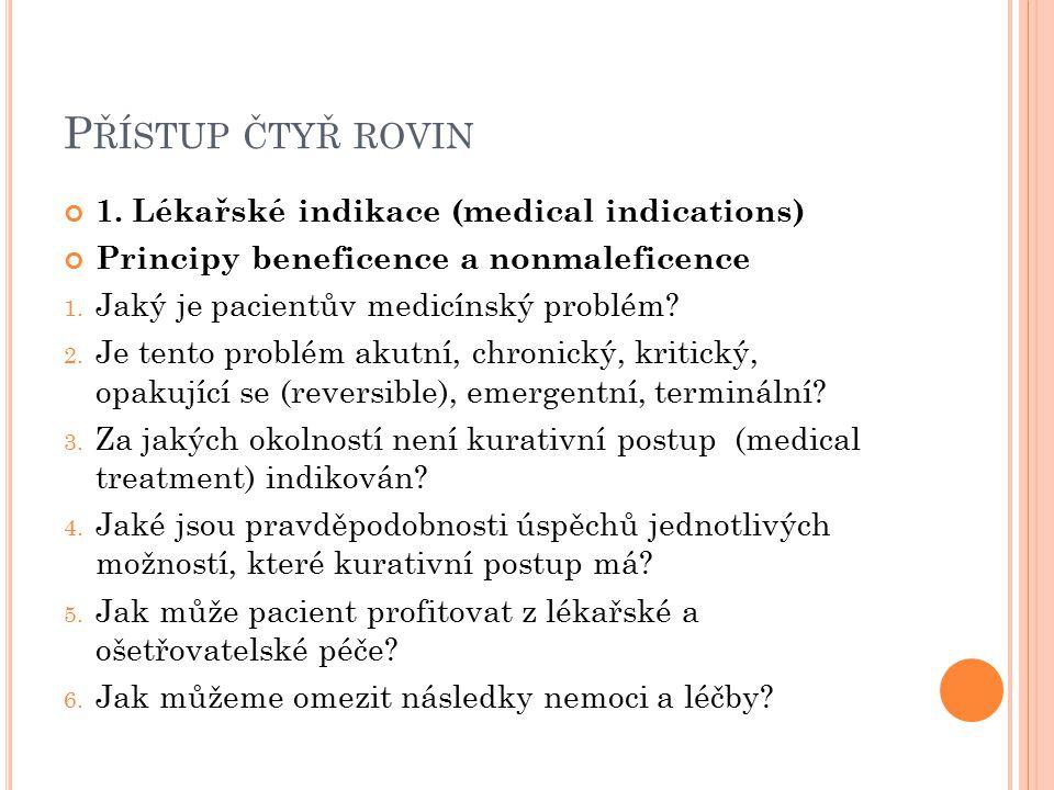 Přístup čtyř rovin 1. Lékařské indikace (medical indications)