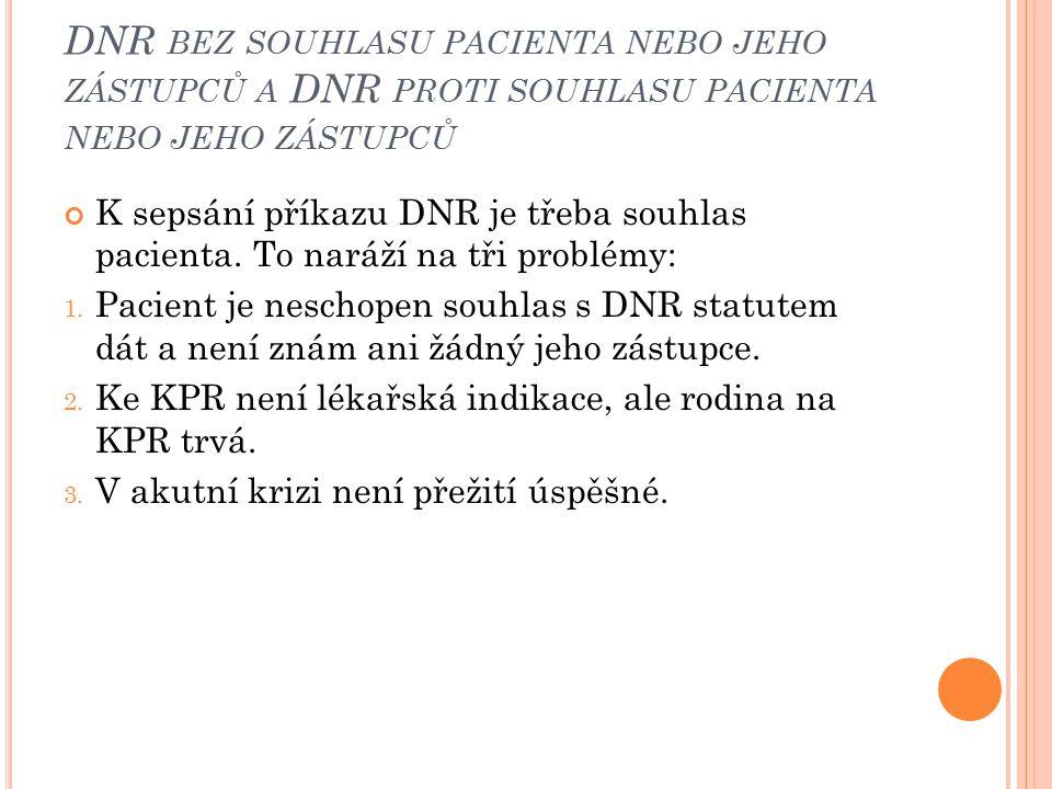 DNR bez souhlasu pacienta nebo jeho zástupců a DNR proti souhlasu pacienta nebo jeho zástupců