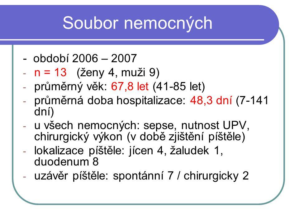 Soubor nemocných - období 2006 – 2007 n = 13 (ženy 4, muži 9)