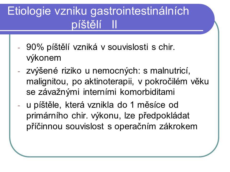 Etiologie vzniku gastrointestinálních píštělí II