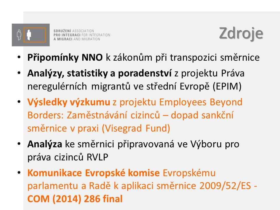Zdroje Připomínky NNO k zákonům při transpozici směrnice