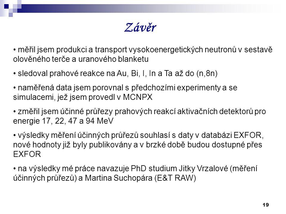 Závěr měřil jsem produkci a transport vysokoenergetických neutronů v sestavě olověného terče a uranového blanketu.