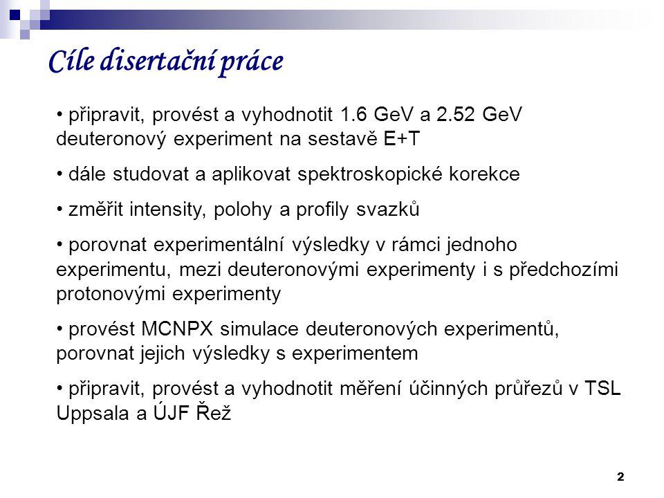 Cíle disertační práce připravit, provést a vyhodnotit 1.6 GeV a 2.52 GeV deuteronový experiment na sestavě E+T.