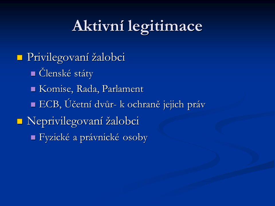 Aktivní legitimace Privilegovaní žalobci Neprivilegovaní žalobci