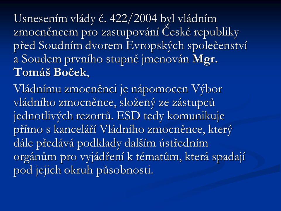 Usnesením vlády č. 422/2004 byl vládním zmocněncem pro zastupování České republiky před Soudním dvorem Evropských společenství a Soudem prvního stupně jmenován Mgr. Tomáš Boček,