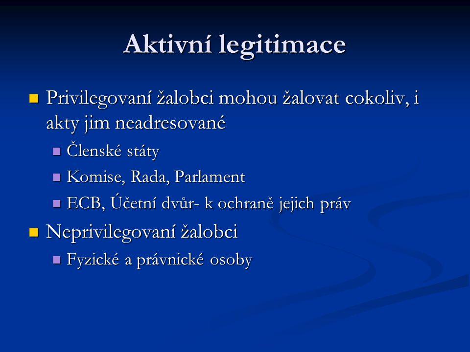 Aktivní legitimace Privilegovaní žalobci mohou žalovat cokoliv, i akty jim neadresované. Členské státy.
