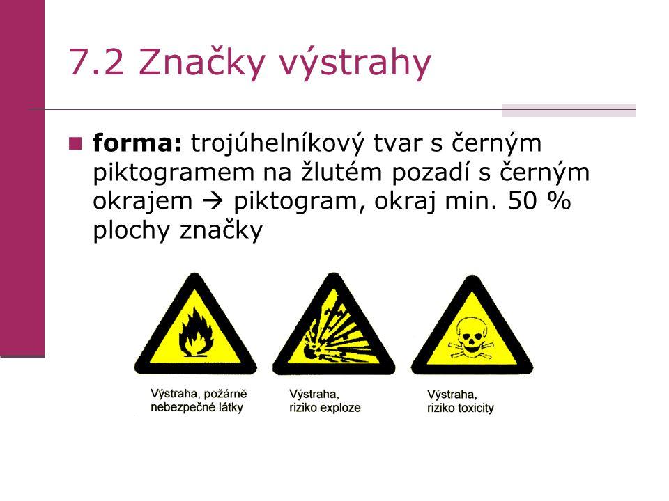 7.2 Značky výstrahy forma: trojúhelníkový tvar s černým piktogramem na žlutém pozadí s černým okrajem  piktogram, okraj min.