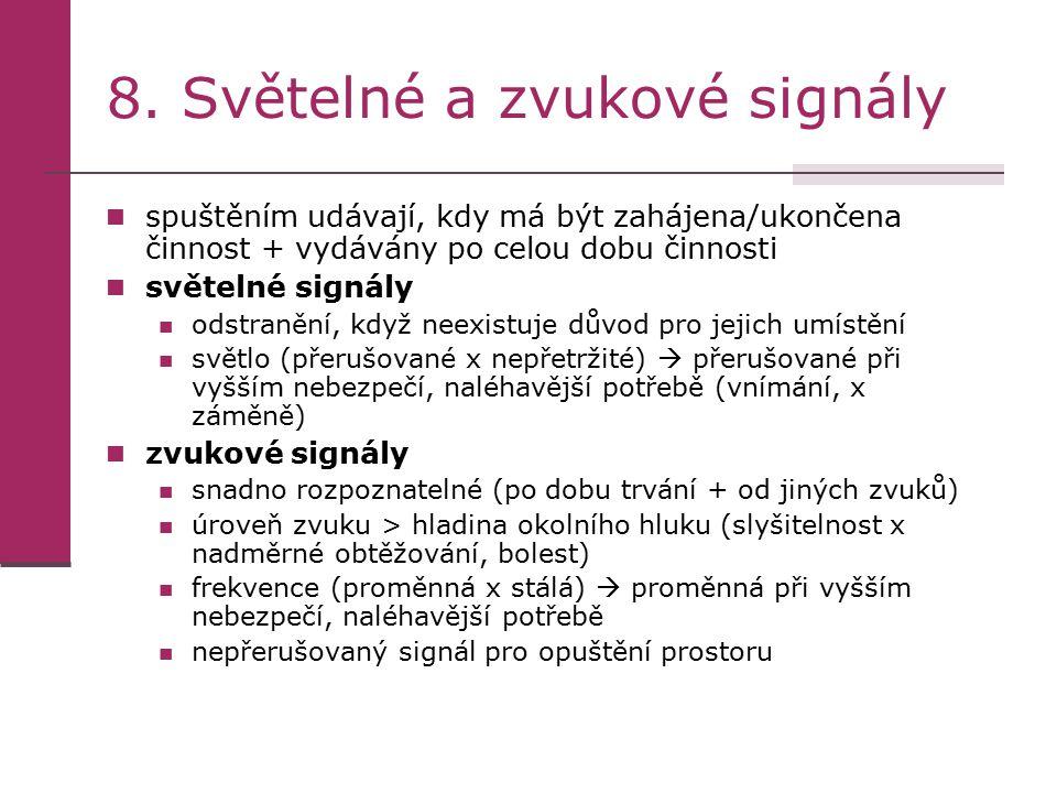 8. Světelné a zvukové signály