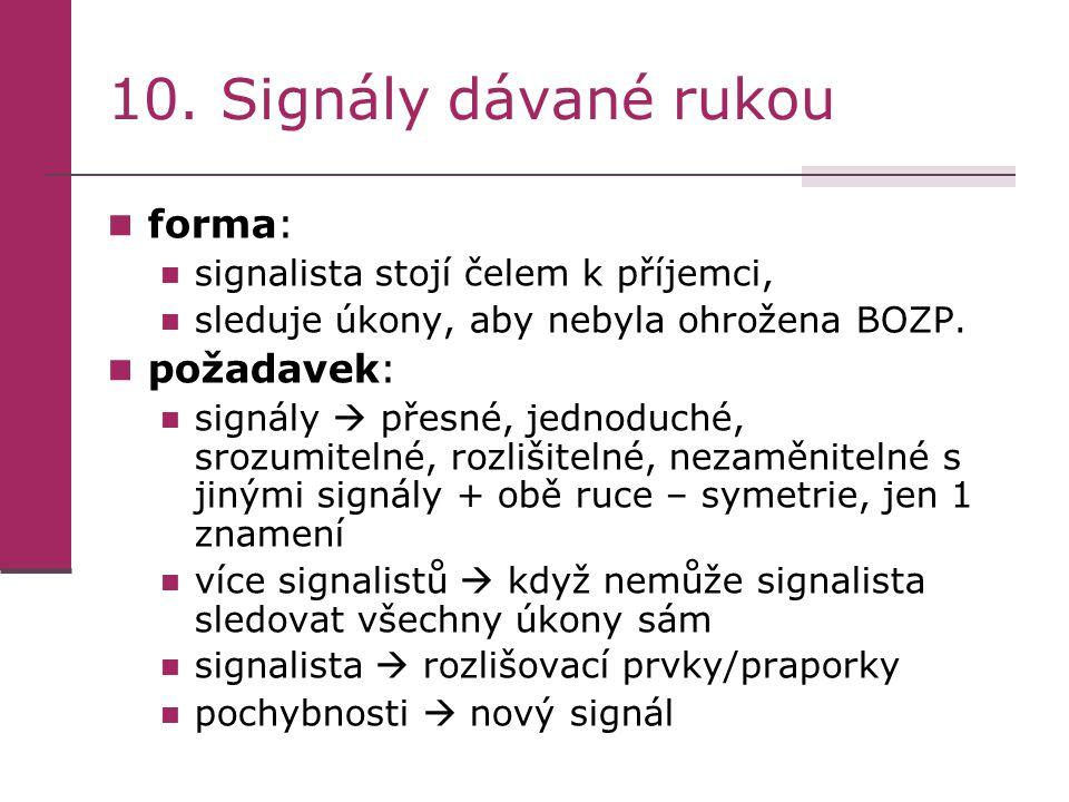 10. Signály dávané rukou forma: požadavek: