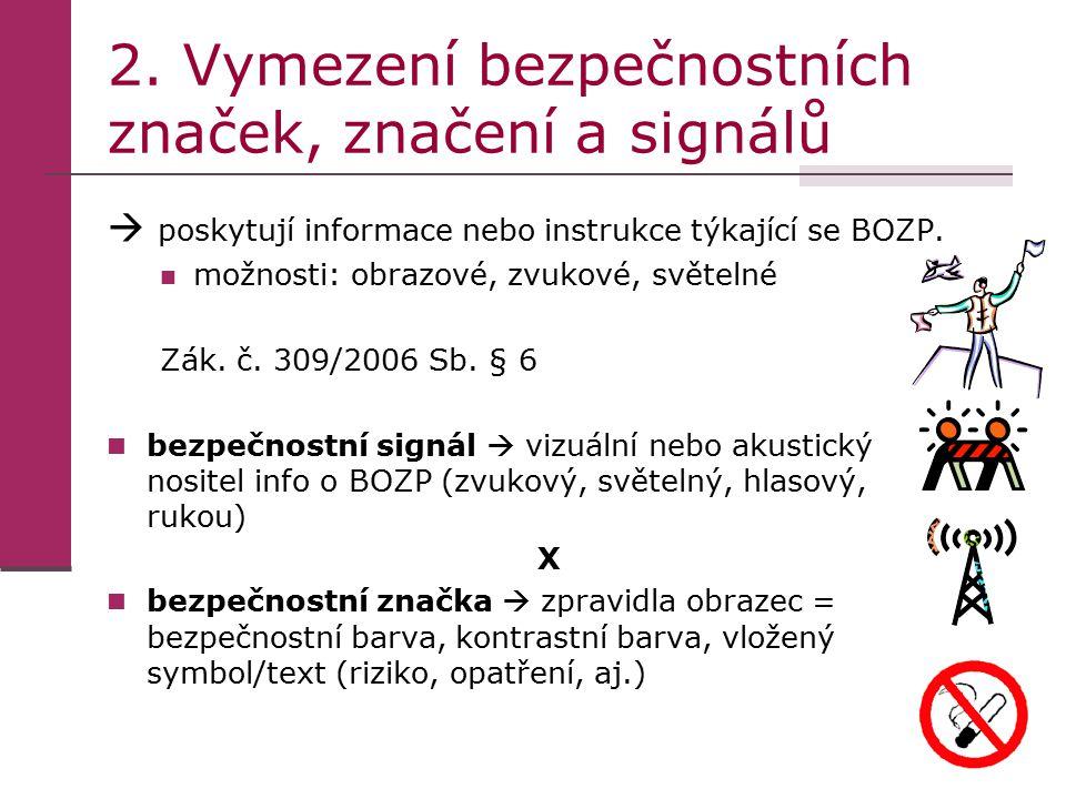 2. Vymezení bezpečnostních značek, značení a signálů