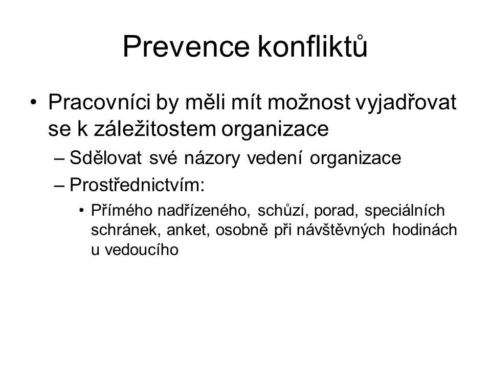 Prevence konfliktů Pracovníci by měli mít možnost vyjadřovat se k záležitostem organizace. Sdělovat své názory vedení organizace.