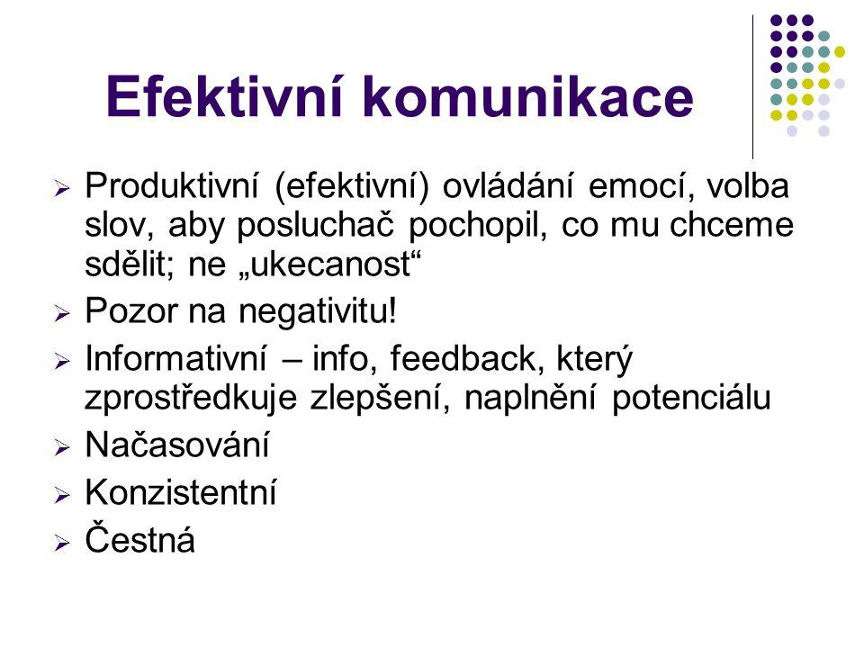 """Efektivní komunikace Produktivní (efektivní) ovládání emocí, volba slov, aby posluchač pochopil, co mu chceme sdělit; ne """"ukecanost"""