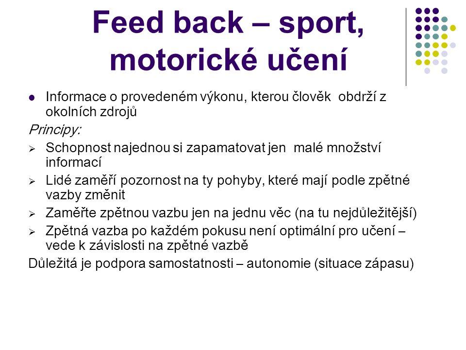 Feed back – sport, motorické učení