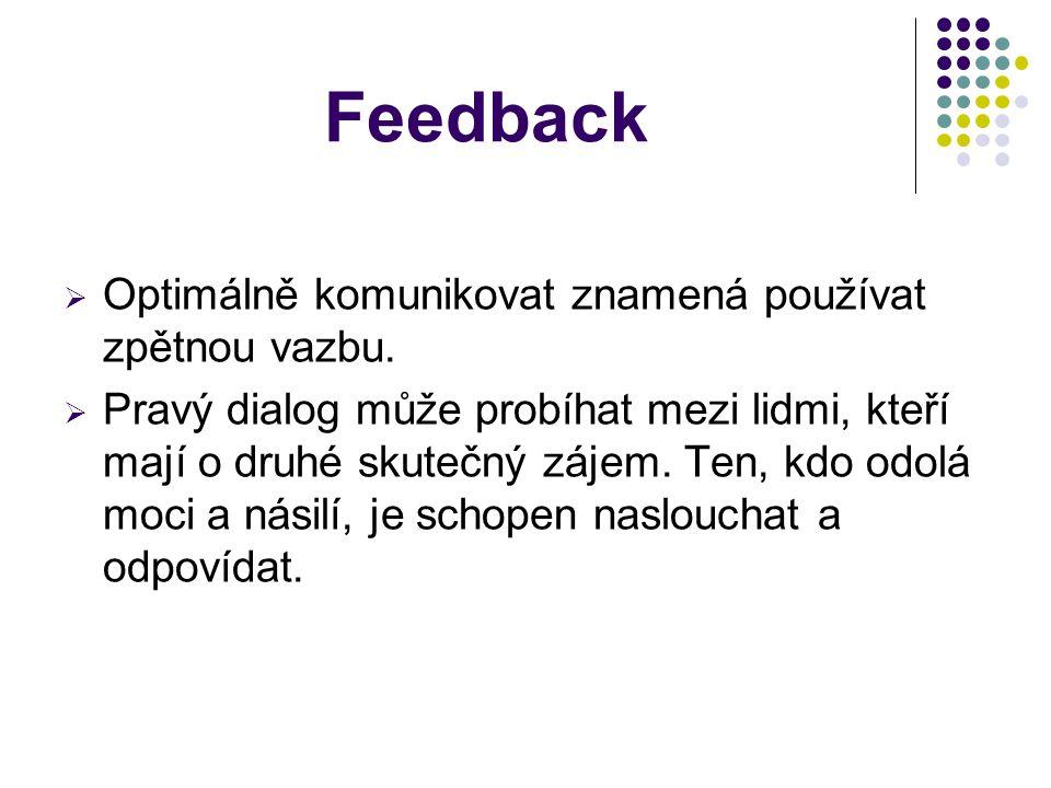 Feedback Optimálně komunikovat znamená používat zpětnou vazbu.