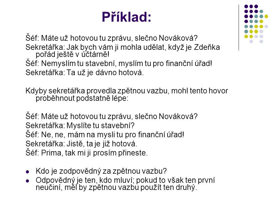 Příklad: Šéf: Máte už hotovou tu zprávu, slečno Nováková