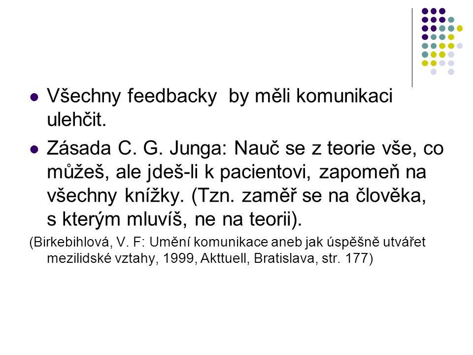 Všechny feedbacky by měli komunikaci ulehčit.