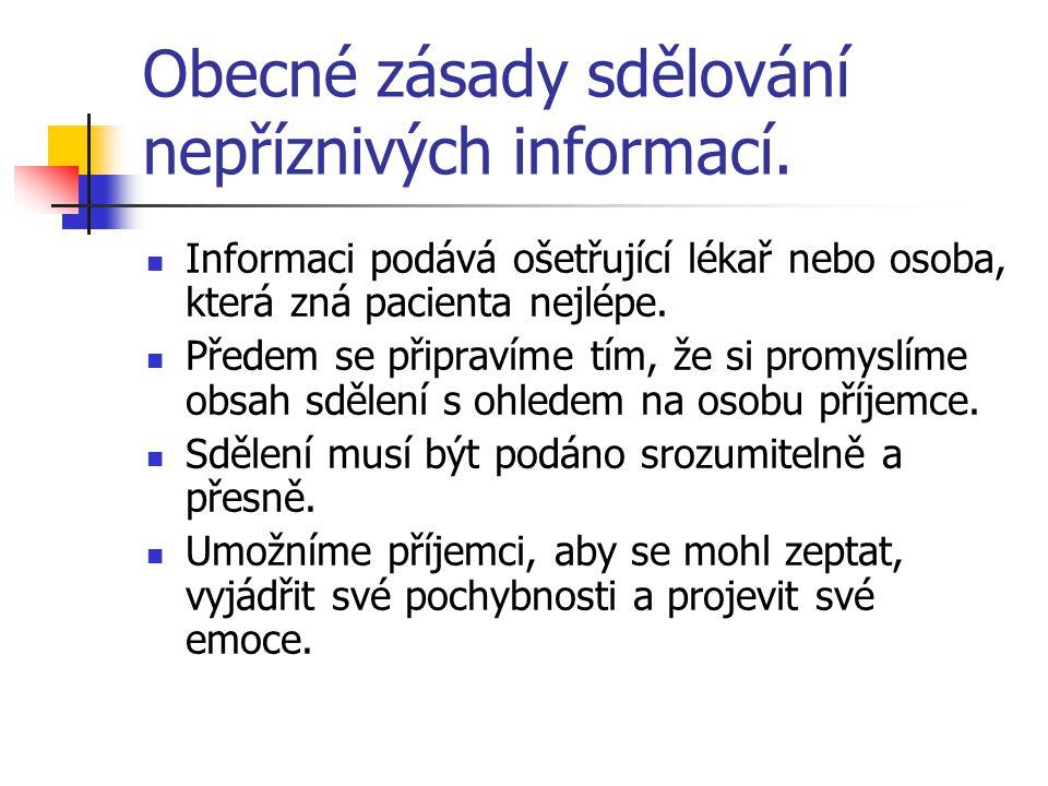 Obecné zásady sdělování nepříznivých informací.