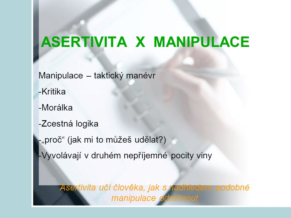 ASERTIVITA X MANIPULACE