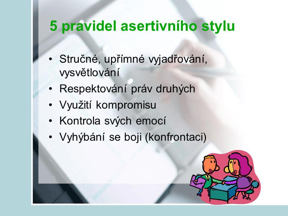 5 pravidel asertivního stylu