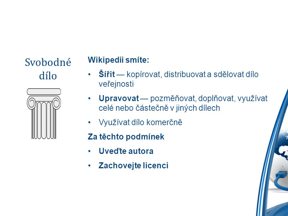 Svobodné dílo Wikipedii smíte: