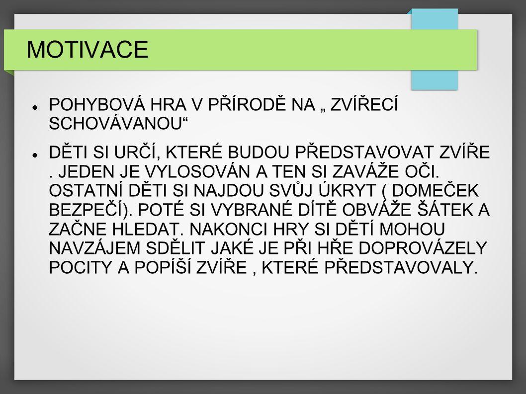 """MOTIVACE POHYBOVÁ HRA V PŘÍRODĚ NA """" ZVÍŘECÍ SCHOVÁVANOU"""