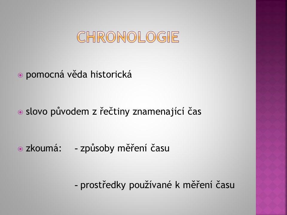 chronologie pomocná věda historická