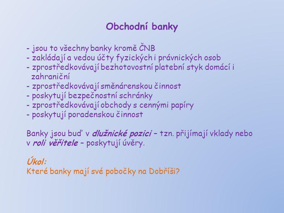 Obchodní banky jsou to všechny banky kromě ČNB