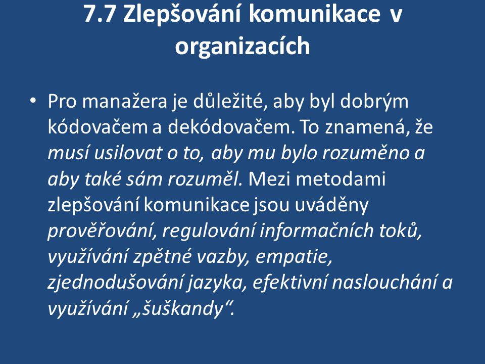 7.7 Zlepšování komunikace v organizacích