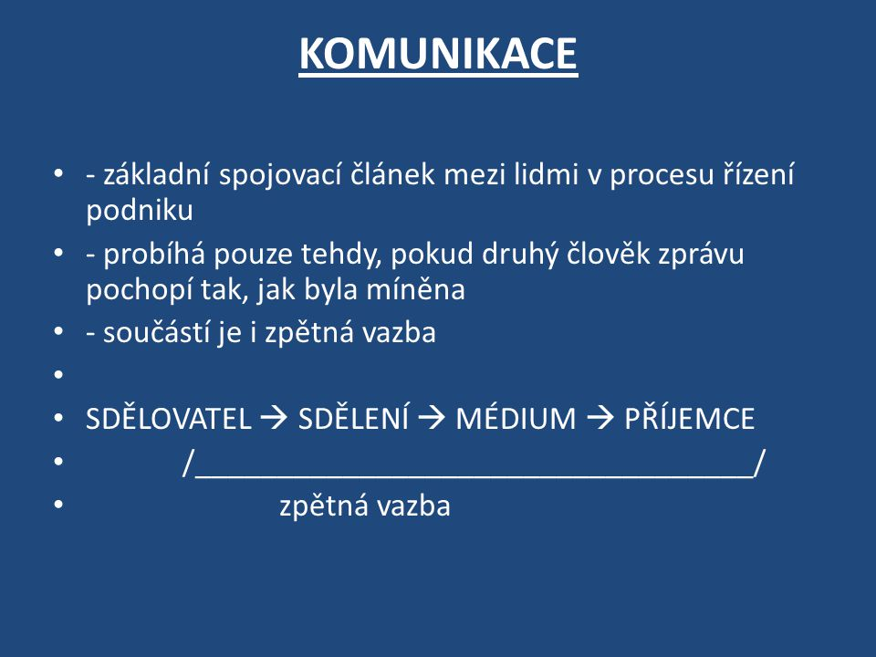 KOMUNIKACE - základní spojovací článek mezi lidmi v procesu řízení podniku.