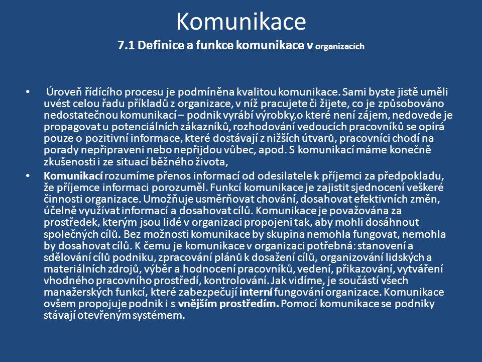 Komunikace 7.1 Definice a funkce komunikace v organizacích