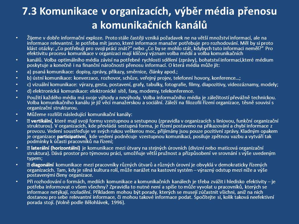 7.3 Komunikace v organizacích, výběr média přenosu a komunikačních kanálů