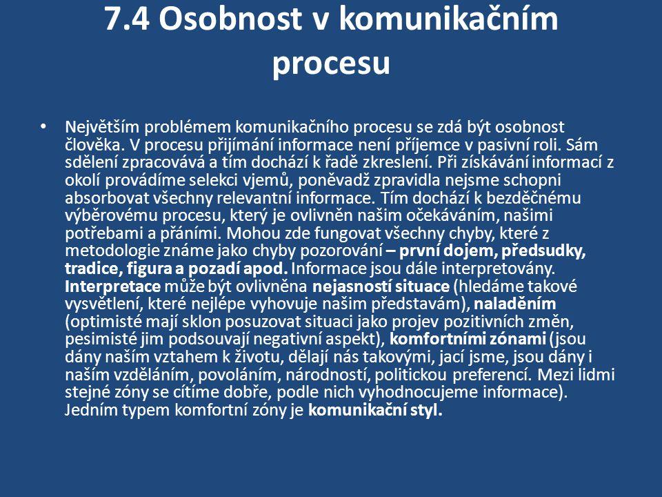 7.4 Osobnost v komunikačním procesu