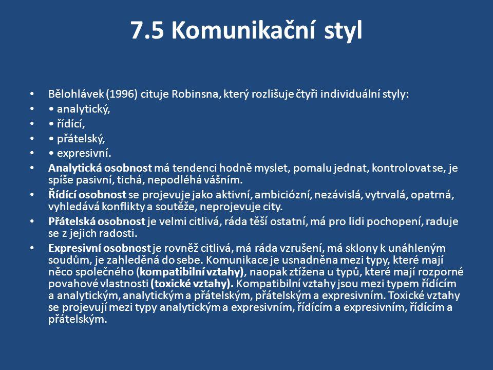 7.5 Komunikační styl Bělohlávek (1996) cituje Robinsna, který rozlišuje čtyři individuální styly: • analytický,